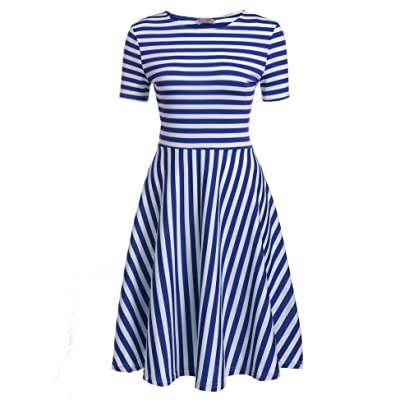 ACEVOG Women O-Neck Short Sleeve Striped Solid Casual Flared A-Line Swing Dress at Amazon Women's Clothing store
