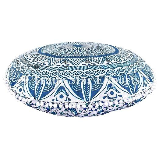Funda de cojín grande para suelo con diseño de mandala, Ombre, funda de cojín redonda decorativa y con pompones, 81,30 cm, estilo indio, otomano, ...