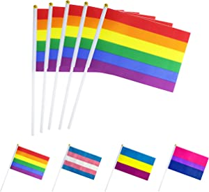TSMD Rainbow Pride Gay Stick Flag,50 Pack Small Mini Hand Held LGBT Flags On Sticks,Decorations Supplies for Mardi Gras,Gay Pride Rainbow Party