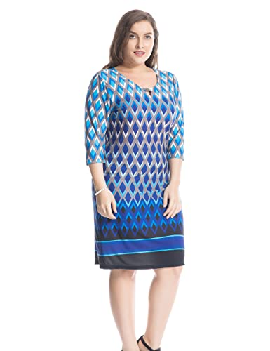 Chicwe Womens Plus Size Printed Dress Keyhole Neck With Metal Trim Border US16-26 at Amazon Womens Clothing store: