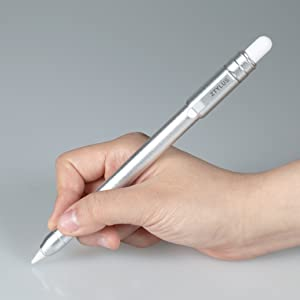 "Ztylus Slim Metal Apple Pencil Protective Case: Built-In Clip, Secures Cap, Retractable Tip Protection for Apple Pencil 1st Generation, iPad Pro 12.9"" 11"" 10.5"" 9.7"" iPad 2019 Air 3, Mini 5 (Silver)"