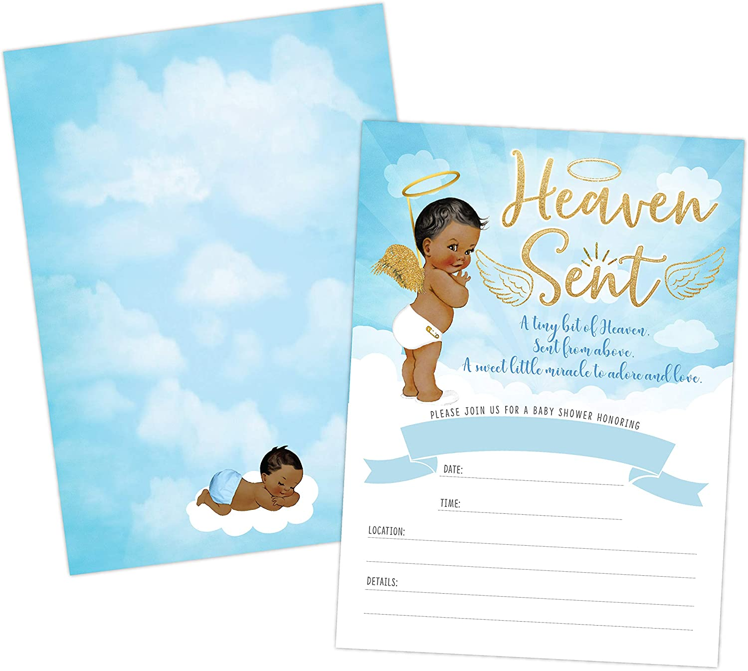 HEAVEN SENT BOY BABY SHOWER INVITATION AFRICAN AMERICAN CUTE CLOUDS AND CELESTIAL ANGEL BABY SHOWER INVITE TWINKLE TWINKLE LITTLE SAR 20 FILL IN INVITATIONS AND ENVELOPES