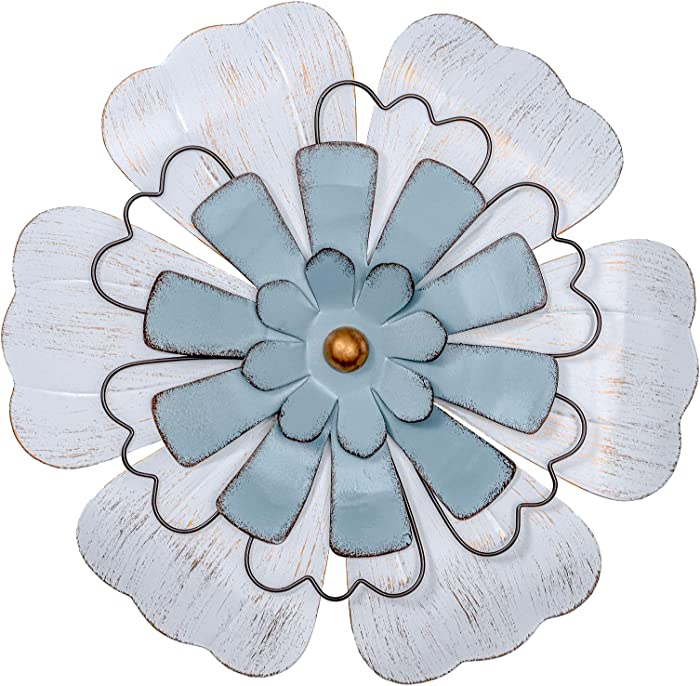 "hogardeck Metal Flower Wall Decor - 13"" Flowers Bedroom Decor, Wall Decorations for Living Room, Outdoor Metal Wall Art"