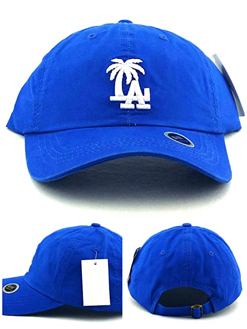 61715002 Headlines Los Angeles New Leader LA Palm Clean Up Blue White Era Strapback  Dad Hat Cap