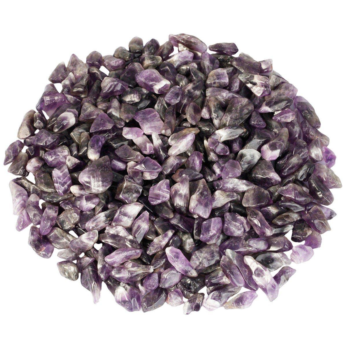 SUNYIK Natural Amethyst Quartz Tumbled Stone Polished Healing Crystal Pieces 0.3''-1.5'' 1lb(appox 460 grams)