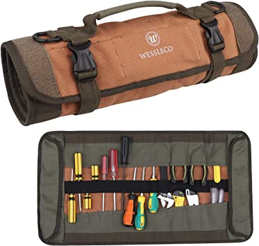 Wessleco Tool Roll Organizer, 24 Pocket Wrench Roll Organizer Rolling Tool Bag Pouch Storage for Electrician, HVAC, Plumber, Carpenter or Mechanic, Brown