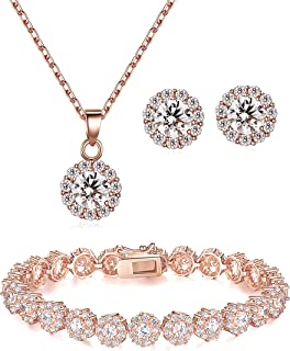344b06bd7 Lé Joli 18K Rose Gold Plated Round Cut Cubic Zirconia Bracelet, Necklace  and Earrings Jewelry