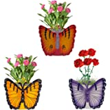 Nuha Set of 3- Single Pot Butterfly Railing Planter, Planter Stands, Planters Hanging, Planter Tray, Planter Pots, Pots and Planters for Balcony
