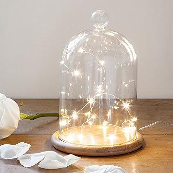 Deko Glasglocke mit 20er Micro Draht Lichterkette perlweiß 21cm ...