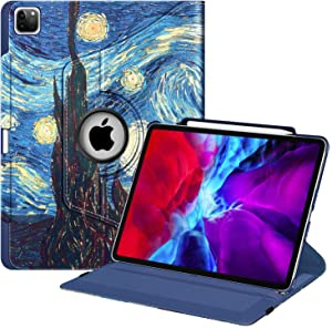 Fintie Rotating Case for iPad Pro 12.9 4th Generation 2020 & 3rd Gen 2018-360 Degree Rotating Smart Stand Cover w/Pencil Holder, Auto Sleep/Wake, Supports 2nd Gen Pencil Charging, Starry Night