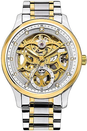 Holuns Relojes Automaticos Hombre Esqueleto Steampunk Lujo Oro Acero Inoxidable