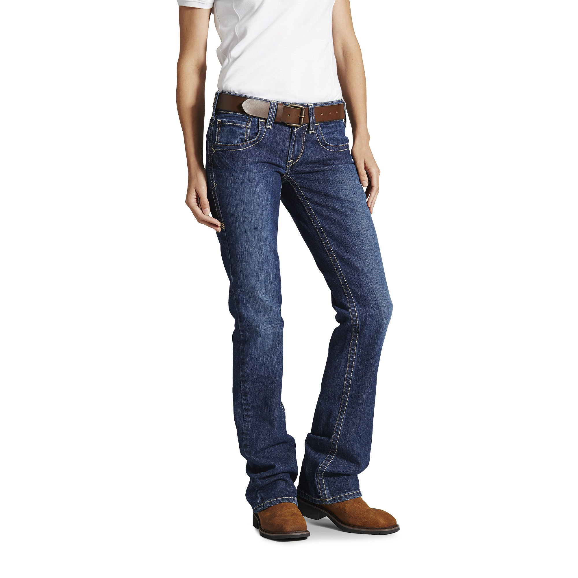 Ariat Women's Flame Resistant Mid Rise Boot Cut Jean, Blue Quartz, 31 Regular