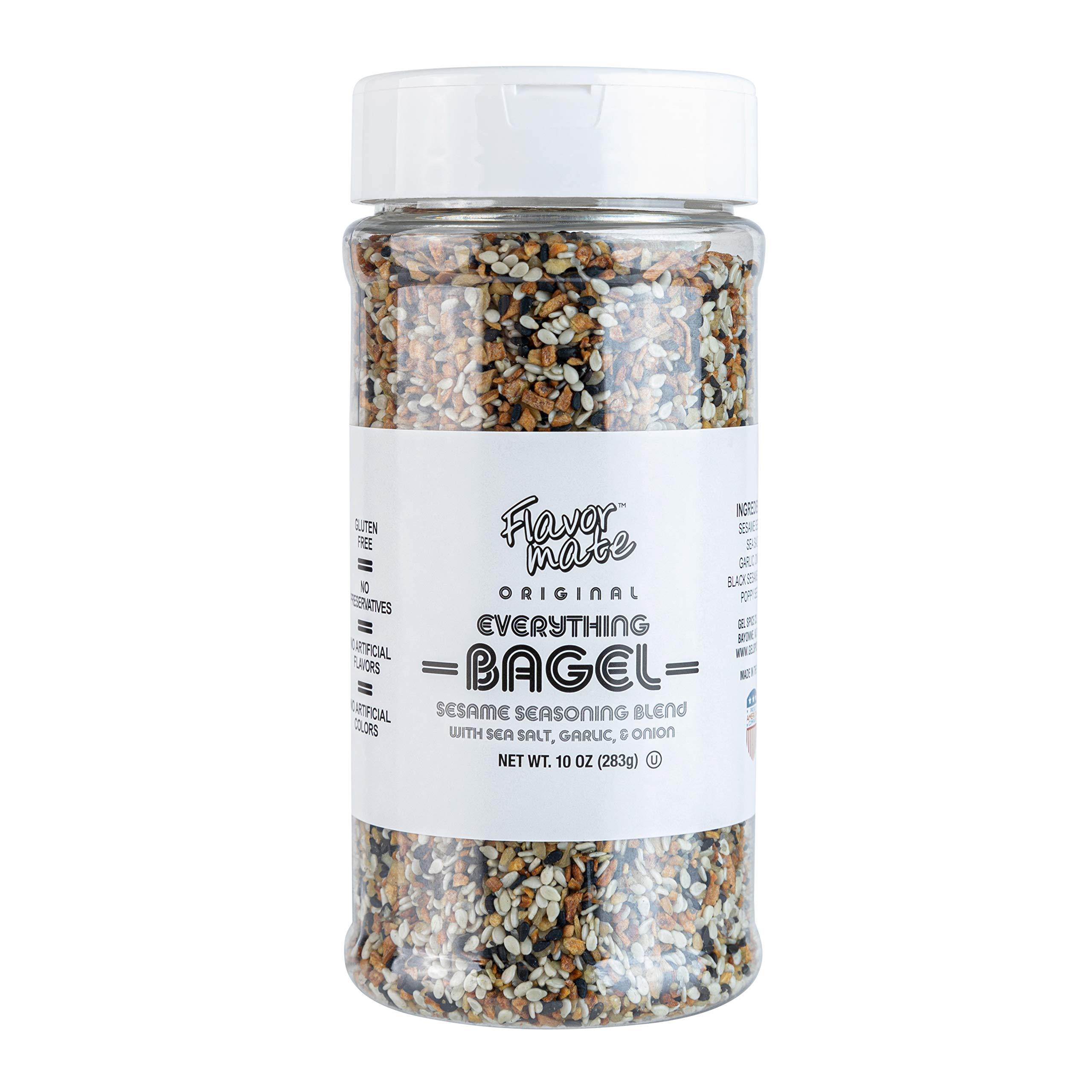 Flavor Mate Original Everything Bagel Seasoning 10 OZ XL Shaker Jar Blend Of Sesame Seeds Sea Salt Garlic Onion Black Sesame