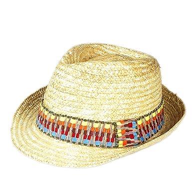 68ecf58a934 Faddish Beige Men Women Summer Beach Thread Cord Band Straw Fedora Panama  Jazz Art Style Travel Sun Hat (One Size of 58Cm)