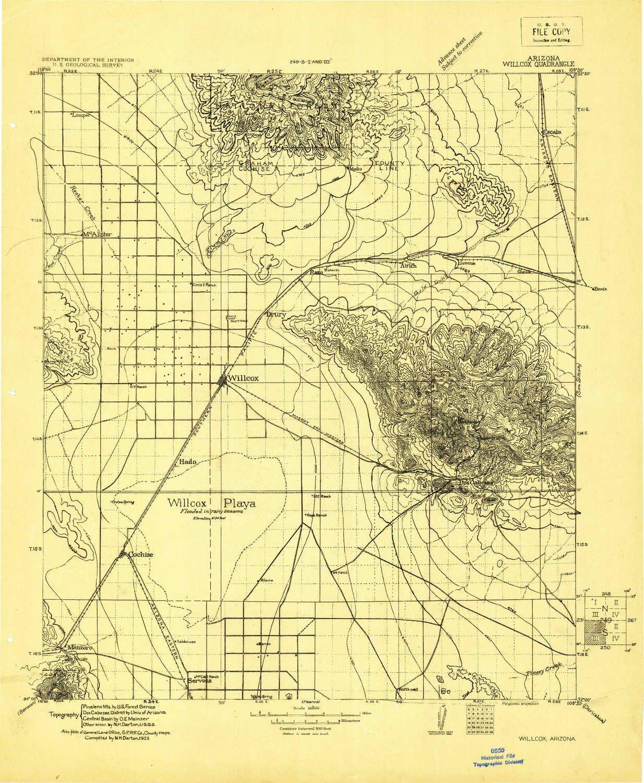 Topo Map Of Arizona.Amazon Com Yellowmaps Willcox Az Topo Map 1 125000 Scale 30 X 30