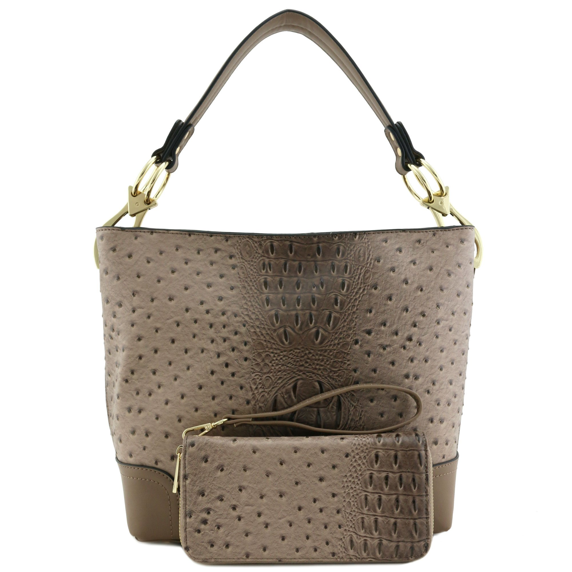 2 PC Set Ostrich Hobo Shoulder Bag with Big Snap Hook and Wallet Stone