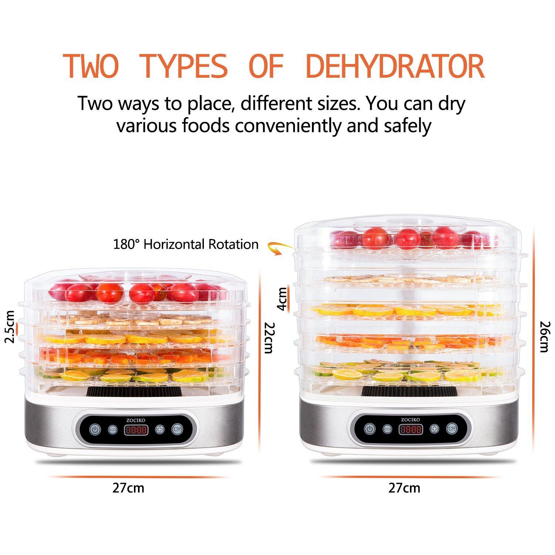 zociko Deshidratador de Alimentos, Máquina Deshidratadora de Alimentos Eléctrica, Creador de Carne deshidratada, Deshidratador de Vegetales y Frutas, ...