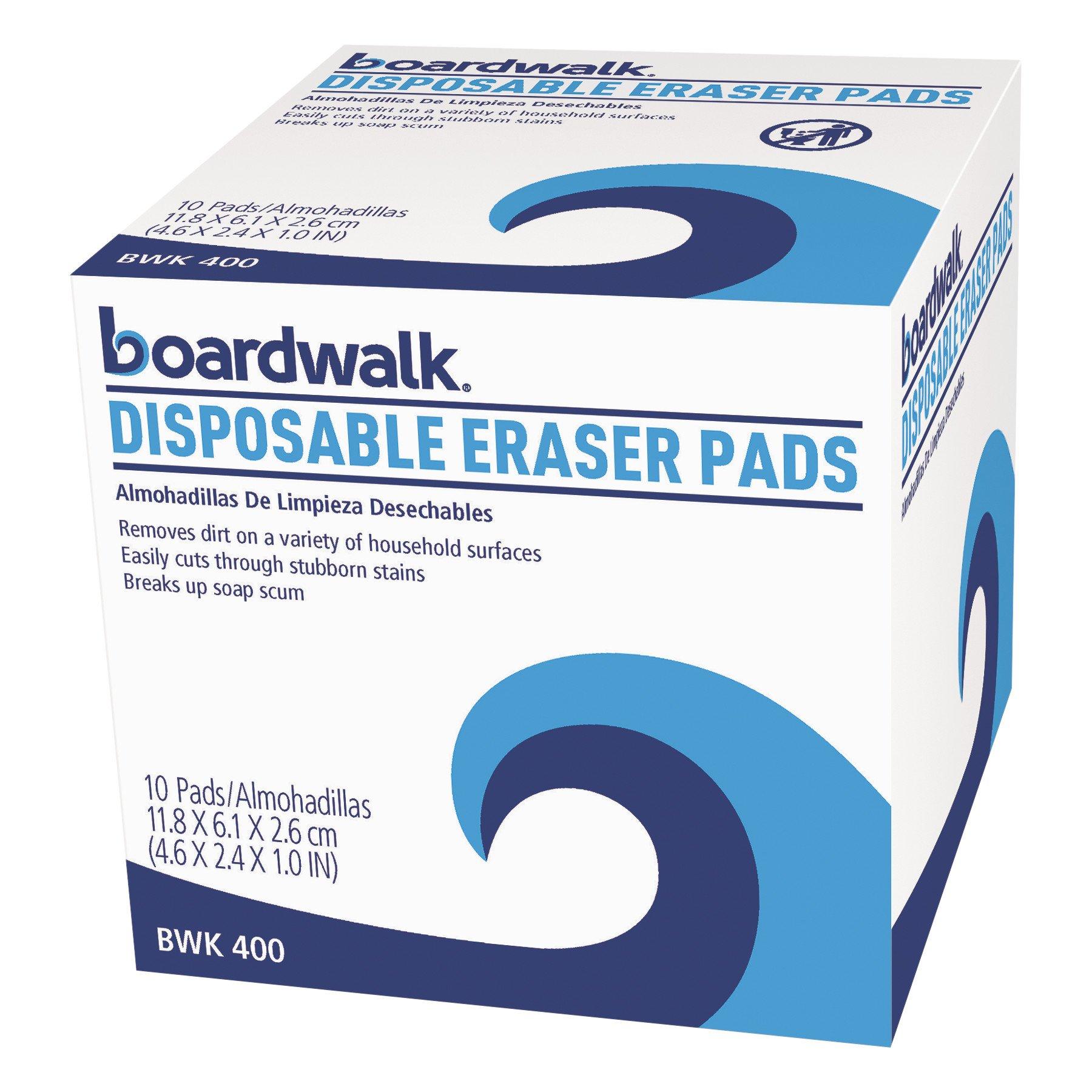 Boardwalk BWK 400 Disposable Eraser Pads, White (Pack of 10)