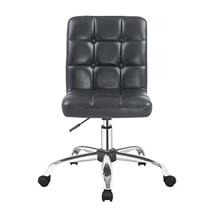 Porthos Home EFC001A BLK Parker Adjustable Chair with 360° Swivel, Roller  Caster Wheels and Button Tufted PU Leather Upholstery, One Size, Black