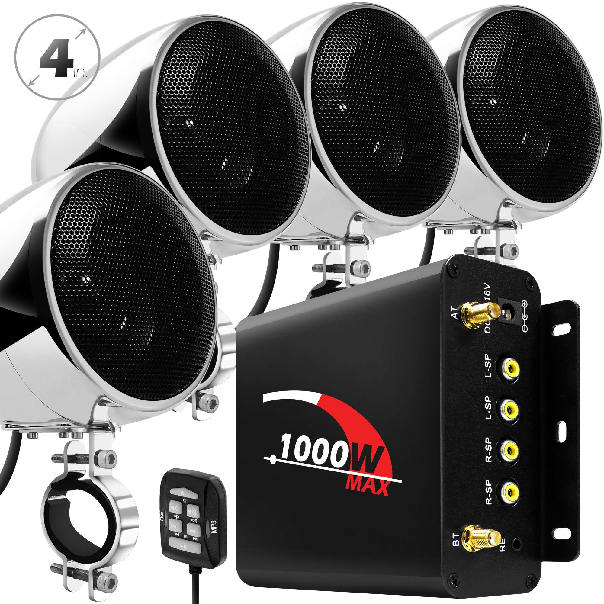 GoHawk TN4-Q 1000W 4 Channel Amplifier 4'' Full Range Waterproof Bluetooth Motorcycle Stereo Speakers Audio System AUX USB SD Radio for 1-1.5'' Handlebar Harley Touring Cruiser ATV