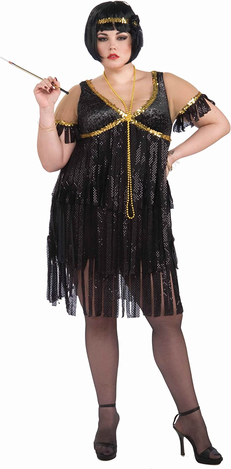 Forum Novelties Plus-Size Roaring 20\'s Sequin Flapper Dress and Headband  Costume