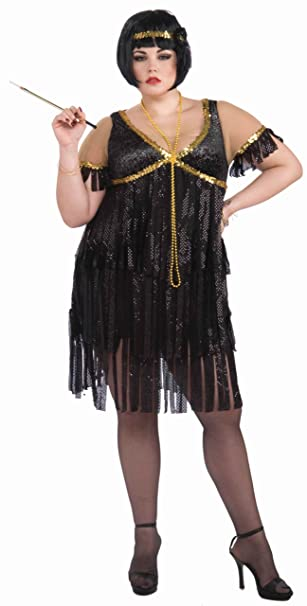 Forum Novelties Plus-Size Roaring 20\'s Sequin Flapper Dress and Headband  Costume
