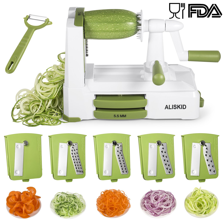 Amazon.com: 5-Blade Spiralizer - ALISKID Vegetable Spiralizer Slicer ...