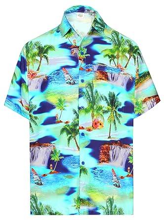 HAPPY BAY los Hombres con Botones Hawaii Camisa de Manga ...