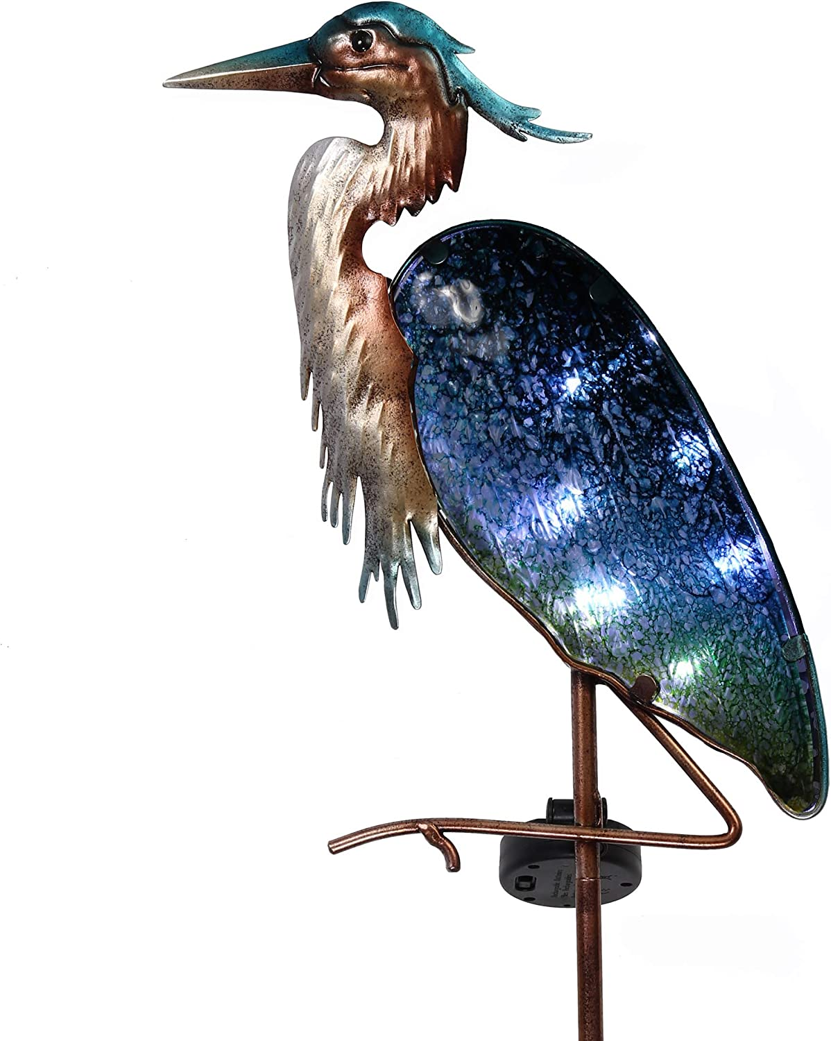 TERESA'S COLLECTIONS 42 inch Metal Heron Garden Solar Stake Lights, Decorative Heron Solar Lights Decor with Colorful Glass Body for Outdoor Lawn Patio Yard Decorations