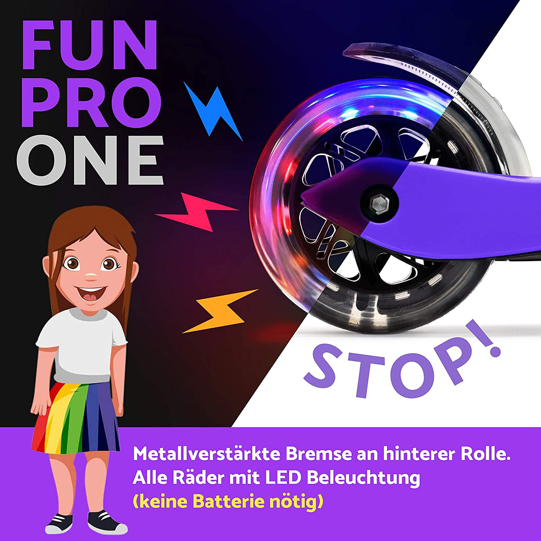 fun pro Patinete One Patinete Seguro Premium para niños, con LED en Las Ruedas, Plegable, a Partir de 2 años (Patinete), certificación TÜV