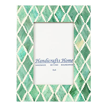 Handicrafts Home 4x6 Photo Frame Green White Bone Mosaic Moroccan ...
