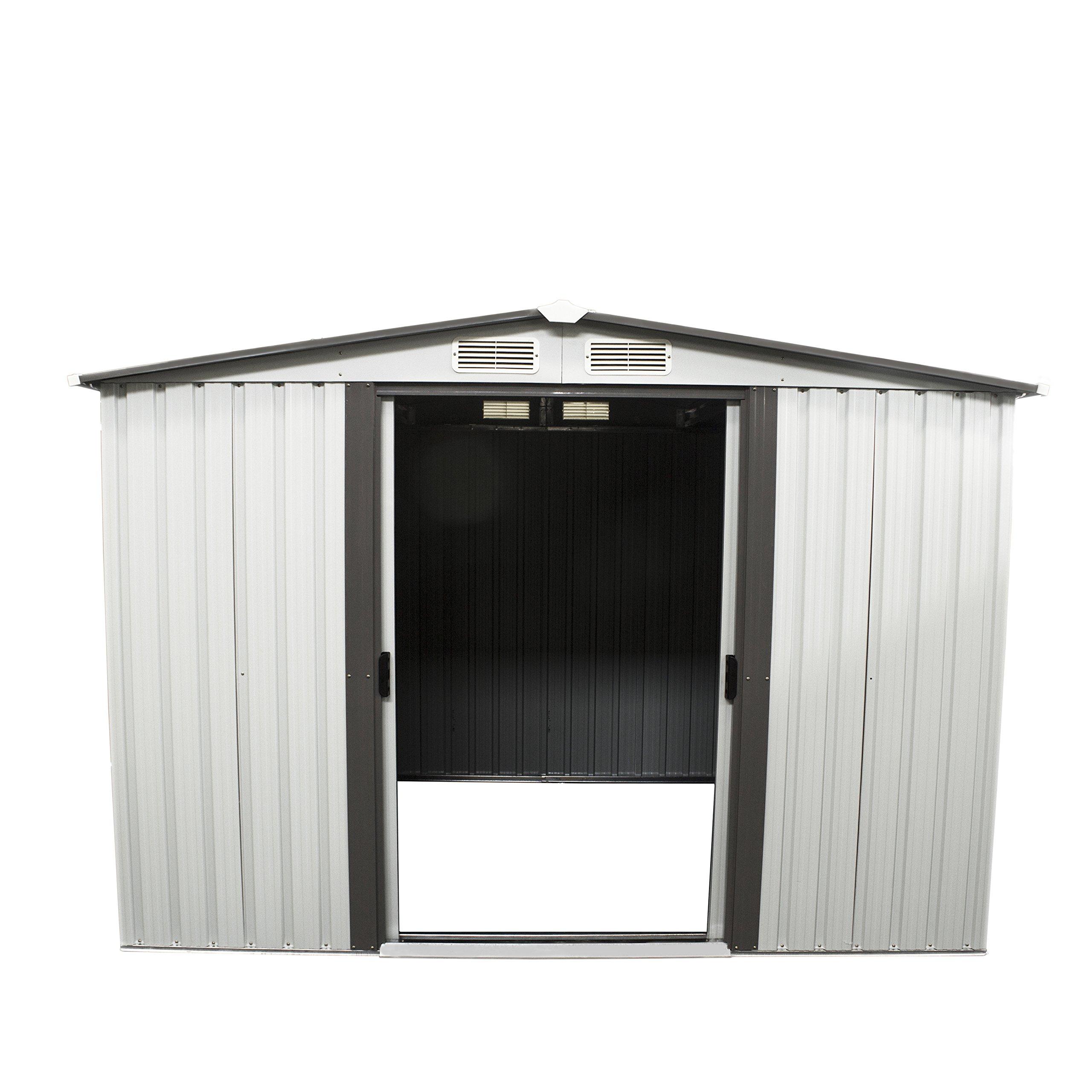 papabox 8'x6' Outdoor Storage Shed Steel Garden Utility Tool Backyard Lawn Building Garage with Doors