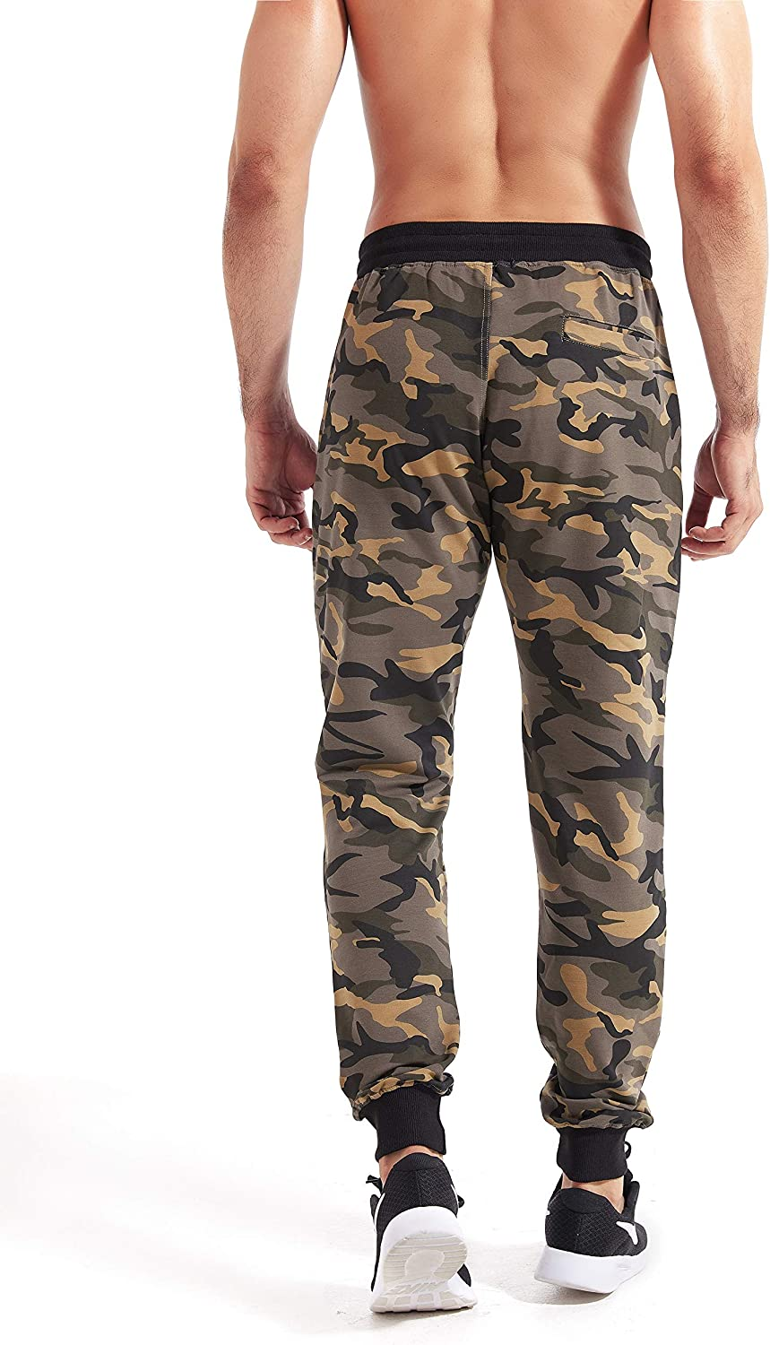 YITUOHEBANG Mens Cotton Casual Camouflage Sweatpants Jogger Pants with Drawstring Elastic Ankle Track Pants Camo Trouser
