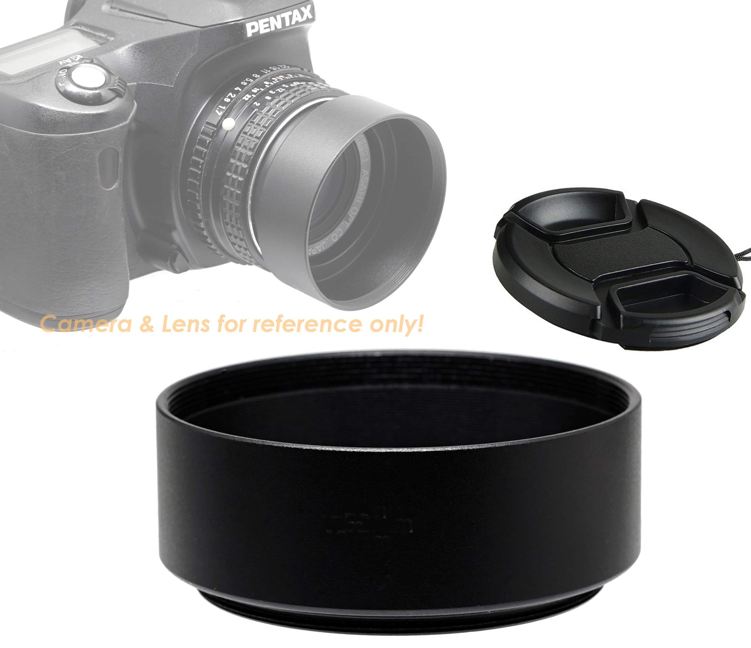Cleaning Cloth 40.5mm Tele Metal Screw-in Lens Hood Sunshade with Centre Pinch Lens Cap for Canon Nikon Sony Pentax Olympus Fuji Sumsung Leica Camera