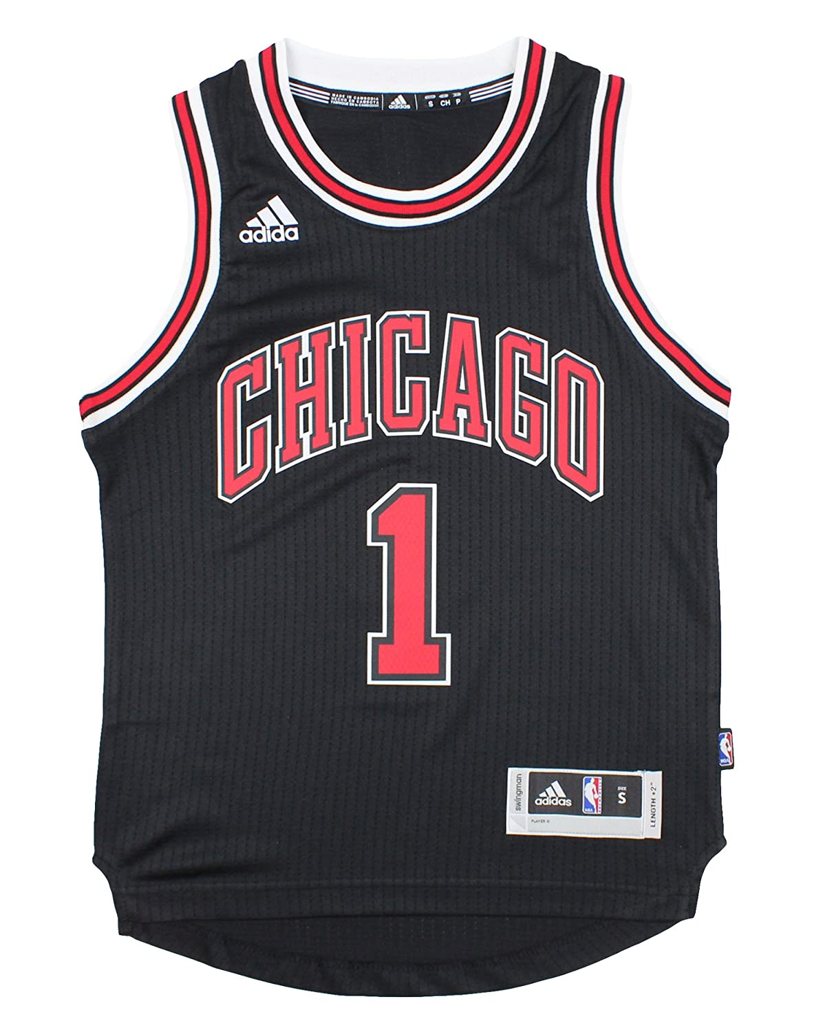 84c851a5e Amazon.com   Chicago Bulls Derrick Rose   1 NBA Youth Big Boys Alternate Swingman  Jersey - Black (Large (14 16))   Sports   Outdoors