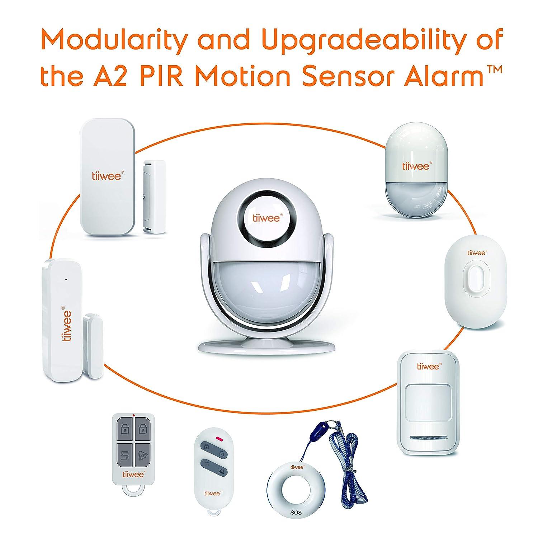 tiiwee A2 Sistema de alarma Antirrobo de Sensor de Movimiento PIR con Control Remoto - Sirena de 125 dB - Ampliable - Seguridad en el hogar: Amazon.es: ...