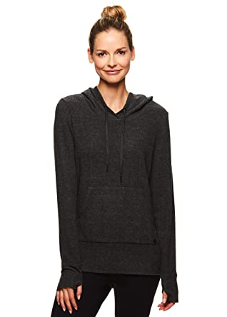 7e81c9977 Gaiam Women s Lightweight Pullover Hoodie - Activewear Workout   Yoga  Sweater - Elle Cozy Black Heather