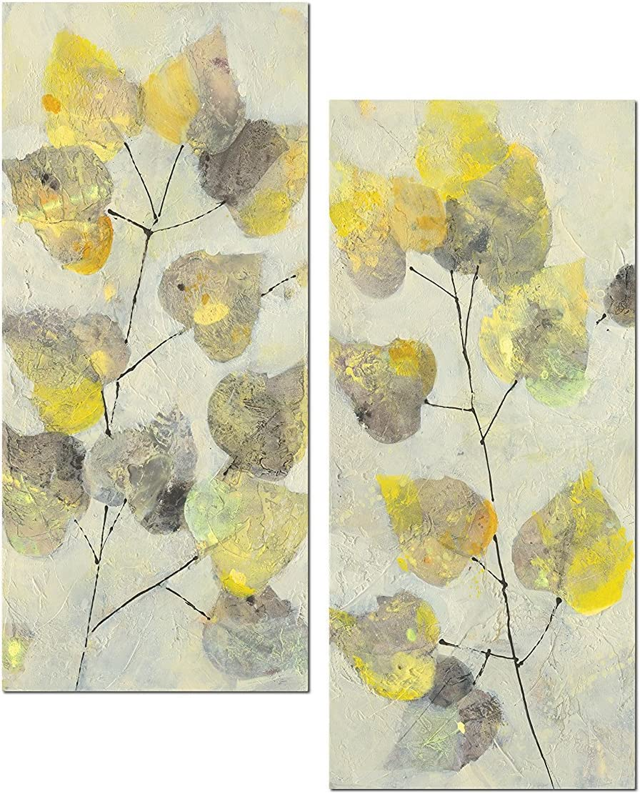 Beautiful Abstract Aspen Branch Grey and Yellow Leaf Panel Set by Albena Hristova; Two 8x18in Unframed Paper Posters