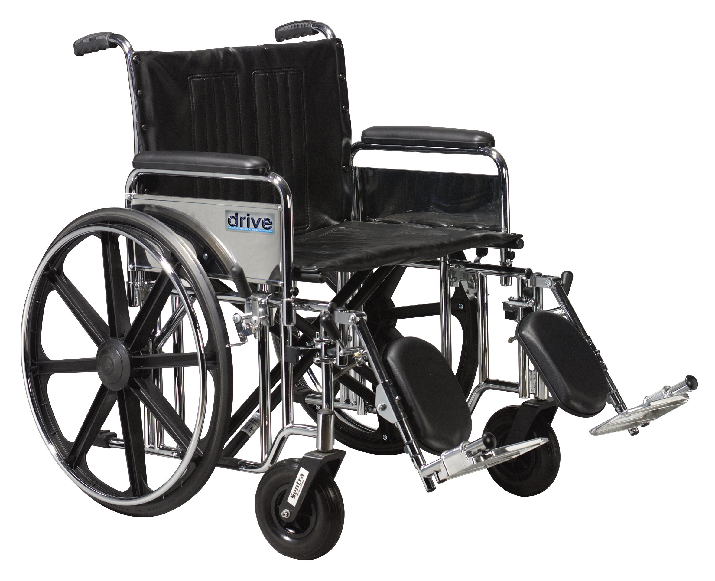 Drive Medical Sentra Extra Heavy Duty Wheelchair with Various Arm Styles and Front Rigging Options, Black, Bariatric 24''