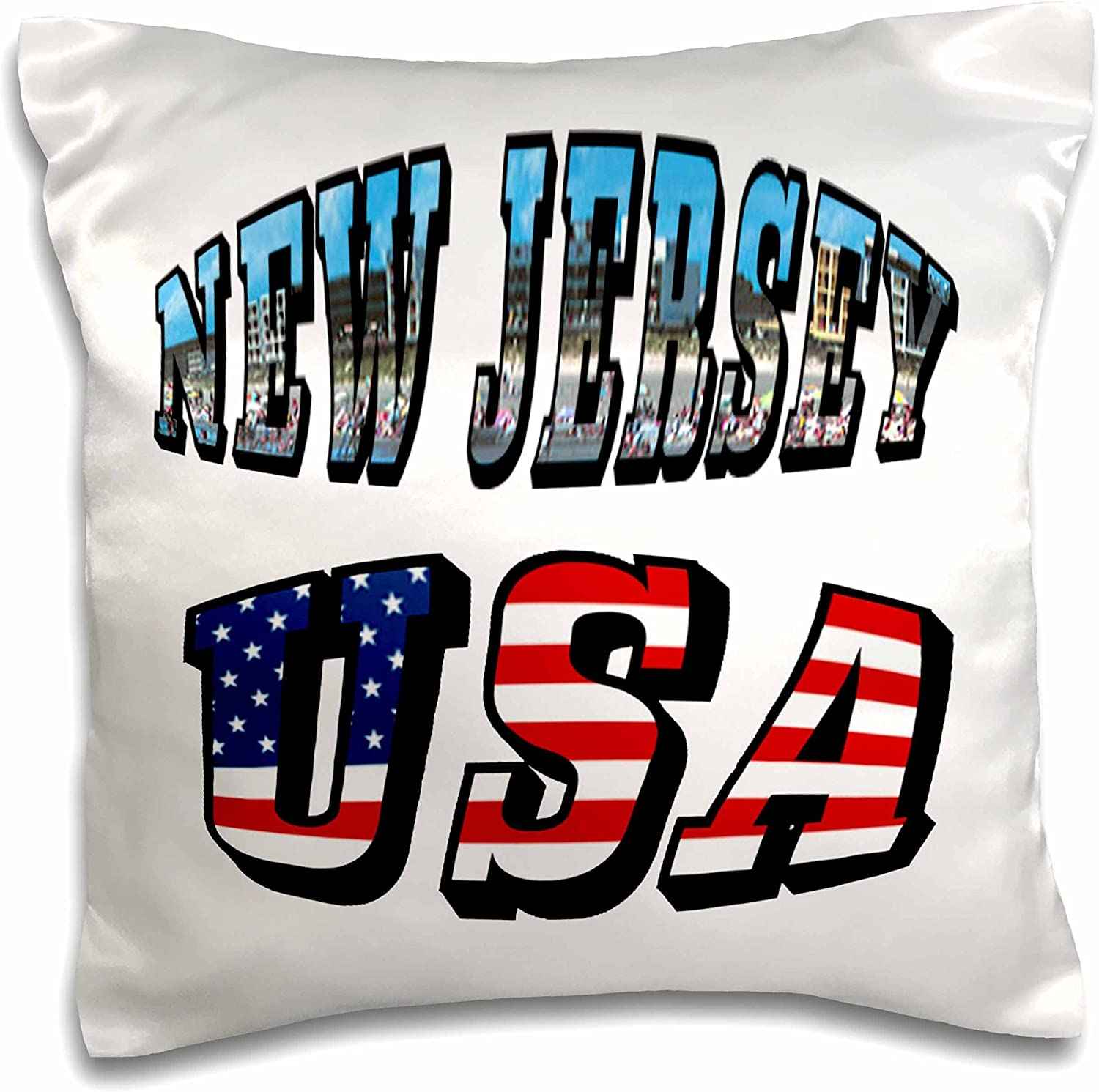 """3dRose pc_60304_1 State Picture Text of New Jersey and USA Flag Text-Pillow Case, 16 by 16"""""""