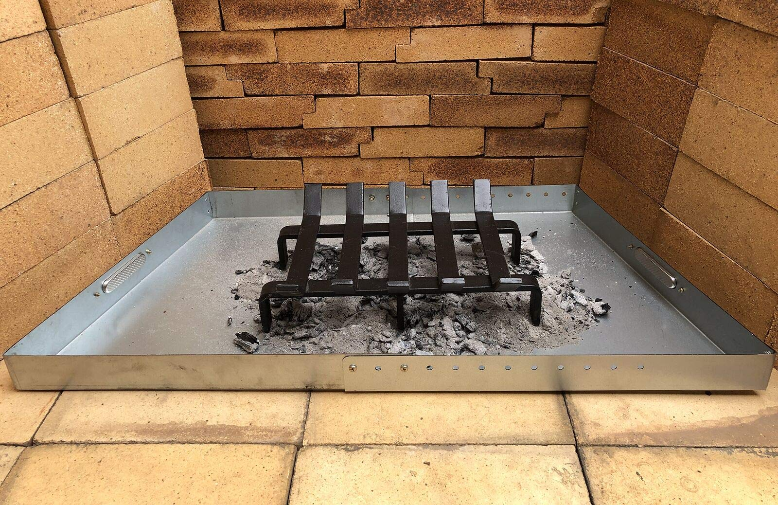 Hi-Flame Tray Ash Pan Clean-Up Expandable for up to 30'' Basket Fireplace Grate, Sliver Color by Hi-Flame