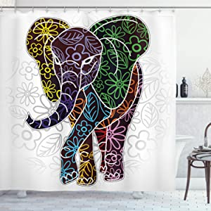 """Ambesonne Batik Shower Curtain, Digital Big Elephant with Floral Lines and Tribal Shapes Wild Life Theme Image, Cloth Fabric Bathroom Decor Set with Hooks, 75"""" Long, White Multicolor"""