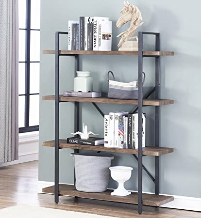Beautiful Amazon.com: Ou0026K Furniture 4 Shelf Open Bookcase, Vintage Industrial Style  Bookshelves, Brown: Kitchen U0026 Dining Amazing Ideas