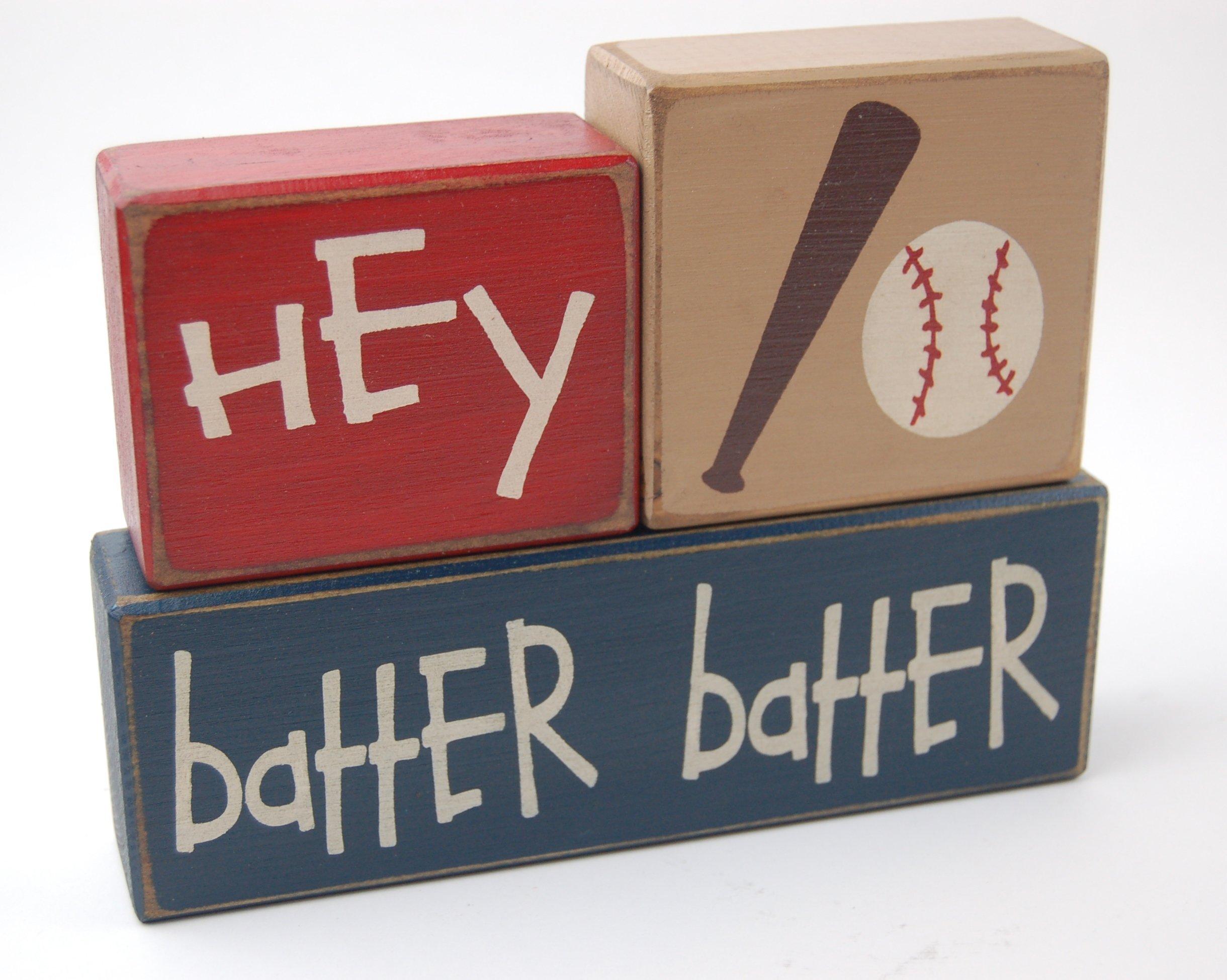 Hey Batter Batter - Primitive Country Wood Stacking Sign Blocks-Baseball Collection-Boys Sports-Nursery Room-Baseball Baby Shower-Baseball Birthday Sports Home Decor