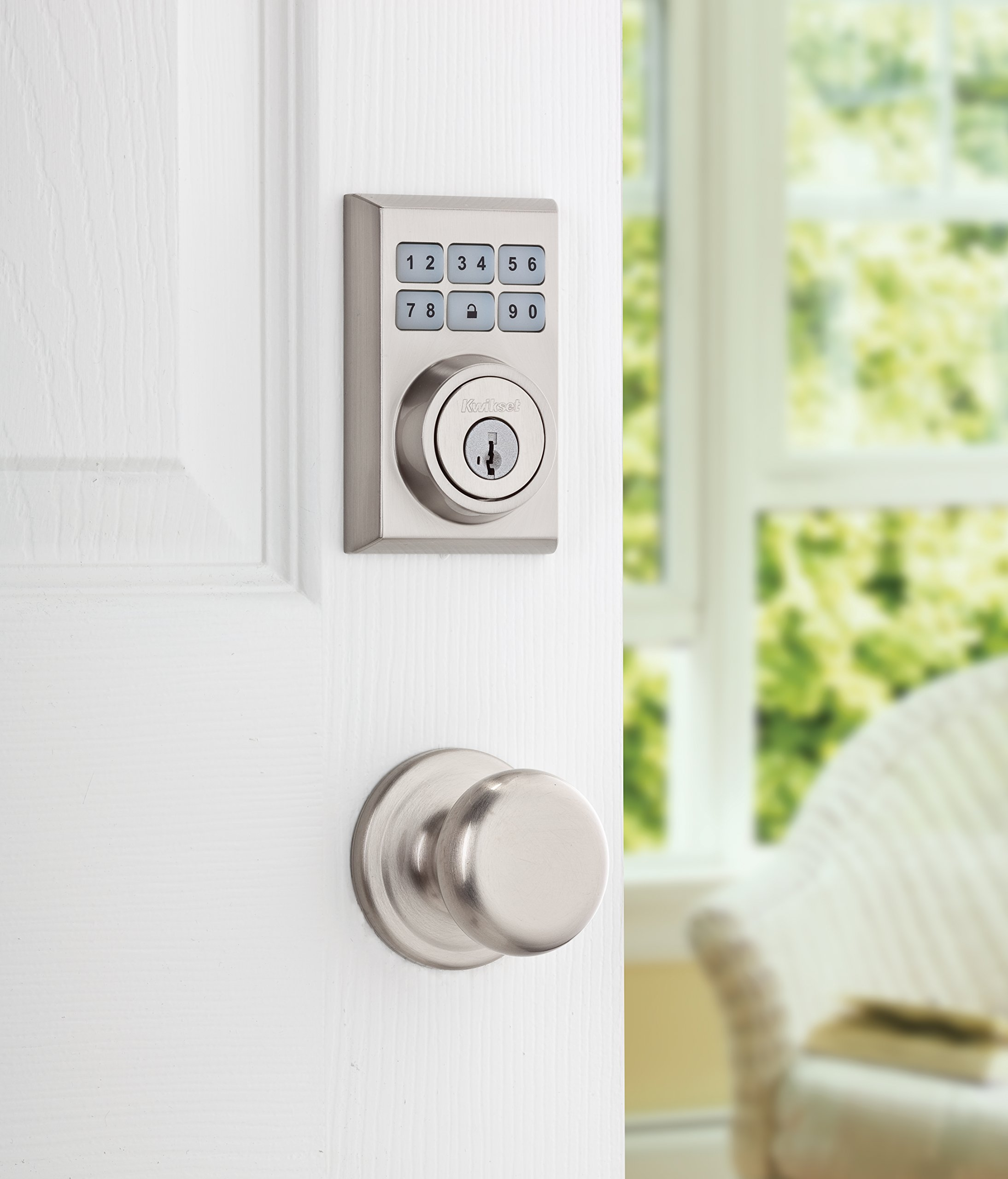 Kwikset 910 Z-Wave Contemporary SmartCode Electronic Touchpad Deadbolt, Works with Amazon Alexa via SmartThings or Wink, featuring SmartKey in Satin Nickel