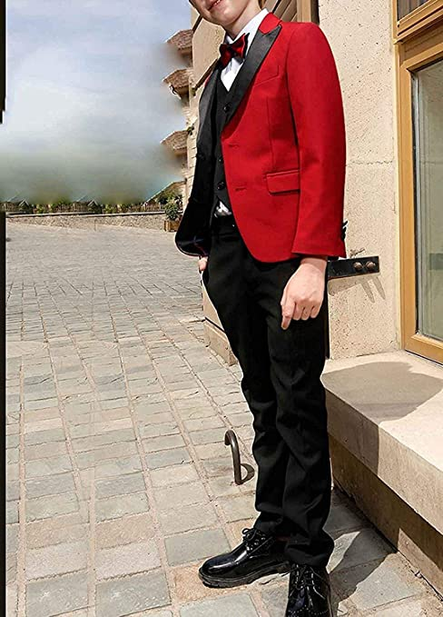 yeoyaw Boys Red//Black Classic Slim Fit Tuxedo Suits Set Jacket Vest Pants Wedding Party Ceremony