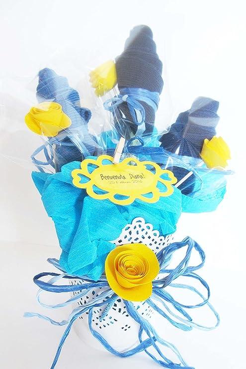 Macetero con Flores hechas con Calcetines en Algodón | Idea Regalo para Recién Nacidos | Baby