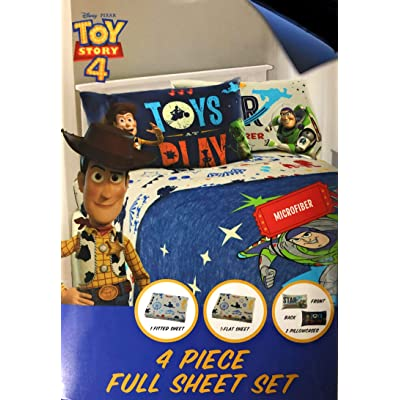 Toys Story 4 Full Sheet Set with 4 Piece Flat, Fitted and 2 Pillowcases: Home & Kitchen