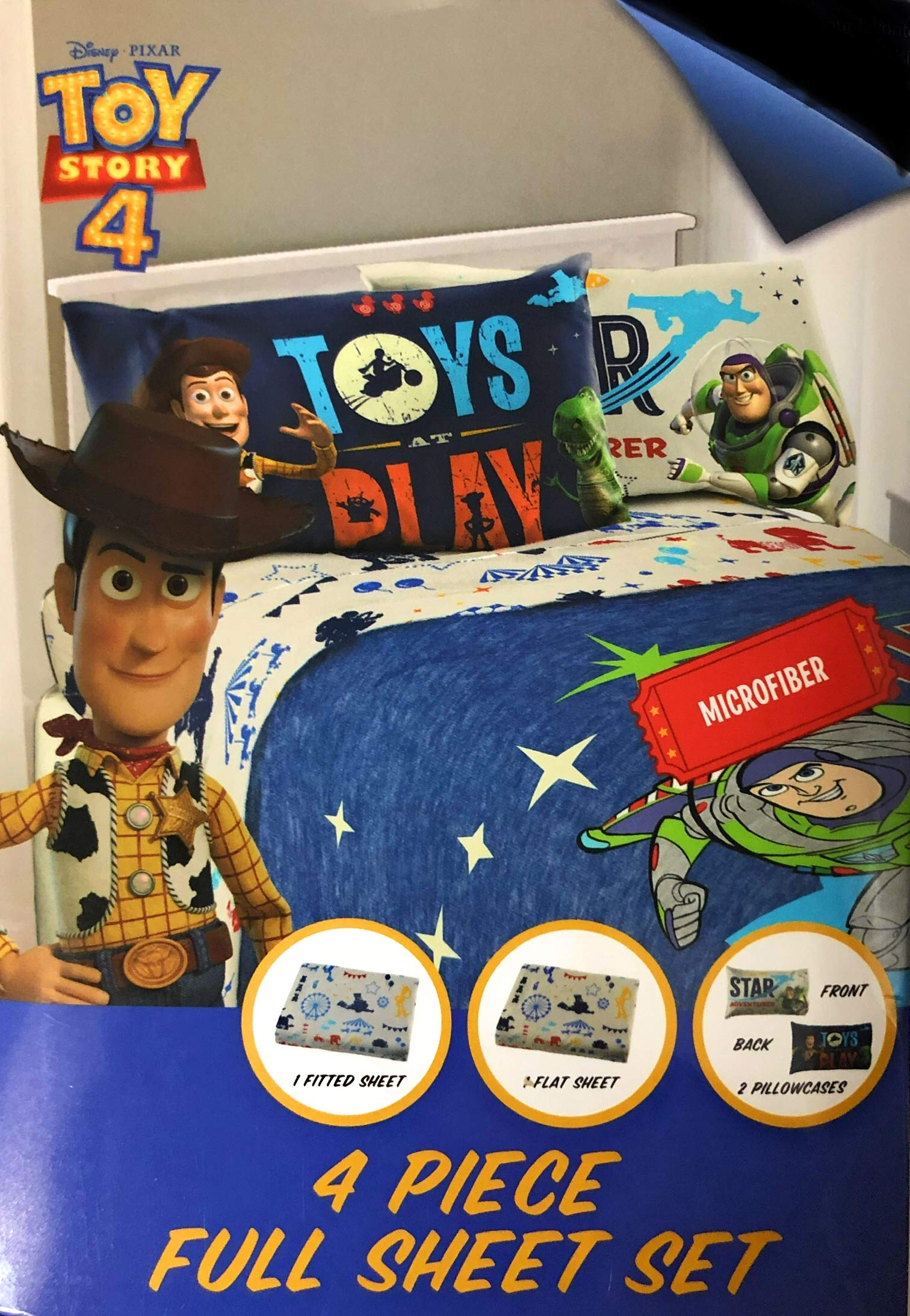 Toys Story 4 Full Sheet Set with 4 Piece Flat, Fitted and 2 Pillowcases