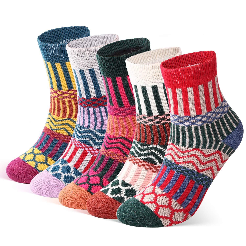 ElifeAcc 5 pares mujer invierno tejido de punto espesar algod/ón c/álido calcetines calcetines t/érmicos 4-6.5UK 35-39EU